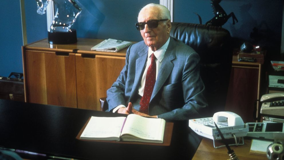 Enzo Ferrari sits at his office in 1985 in Maranello, Italy.