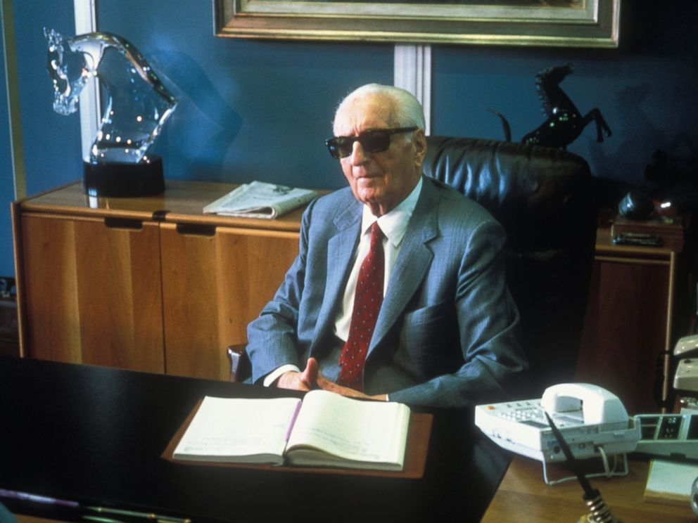 PHOTO:Enzo Ferrari sits at his office in 1985 in Maranello, Italy.