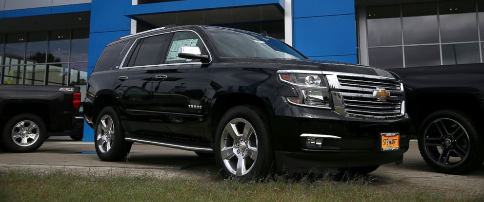 PHOTO: A brand new Chevrolet Tahoe SUV is displayed at Stewart Chevrolet, July 16, 2014, in Colma, Calif.