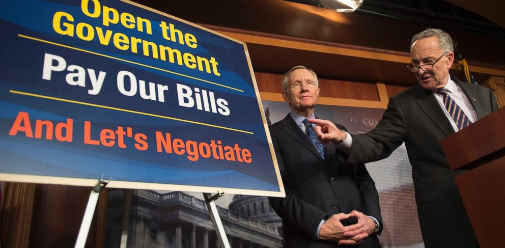 PHOTO: Harry Reid and Chuck Schumer are seen during a press conference on Capitol Hill about the debt ceiling in Washington, Oct. 12, 2013.