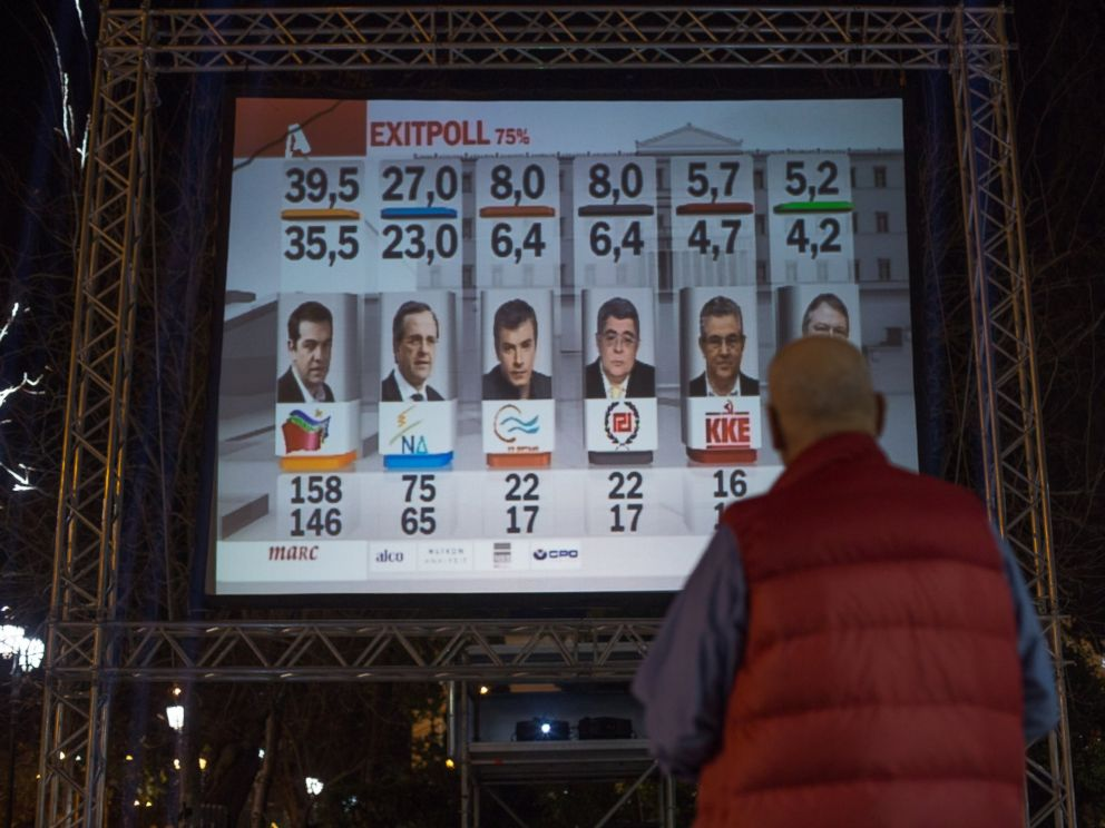 PHOTO: A man looks at a giant screen showing a exit poll, Jan. 25, 2015 in Athens, Greece.