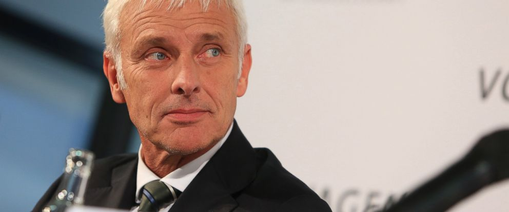 PHOTO: Matthias Mueller, the new chief executive officer of Volkswagen AG, looks on during a news conference in Wolfsburg, Germany on Sept. 25, 2015.