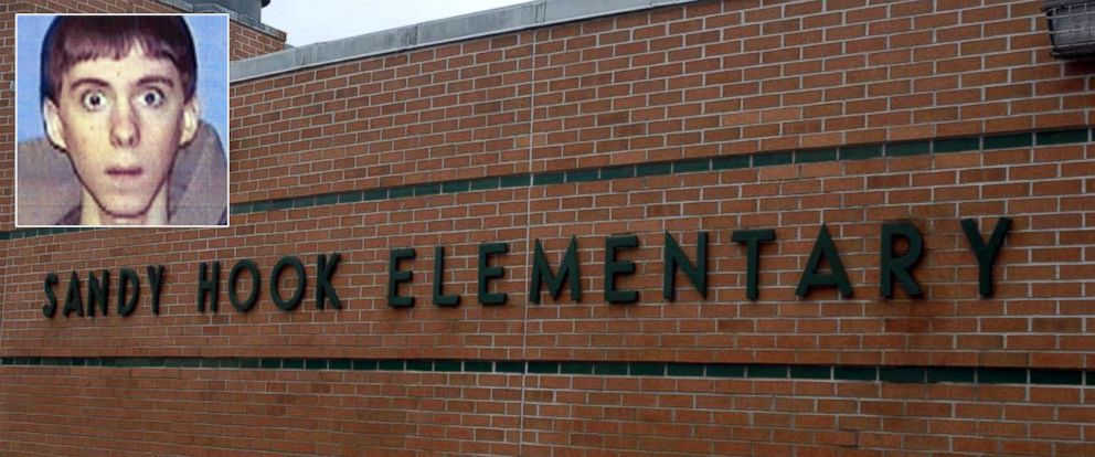 PHOTO: The exterior of the Sandy Hook Elementary School following the Dec. 14, 2012 shooting rampage, is seen in this undated handout photo. | Inset: Adam Lanza is seen in this undated file photo.
