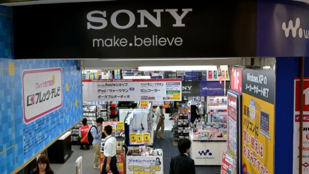 PHOTO: A logo of Japanese electronics giant Sony is displayed at a shop in Tokyo on May 13, 2014.
