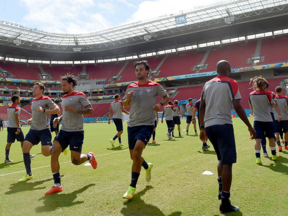 PHOTO: USAs players take part in a training session at the Pernambuco Arena in Recife, June 25, 2014, on the eve of the Group G football match between USA and Germany in the 2014 FIFA World Cup.