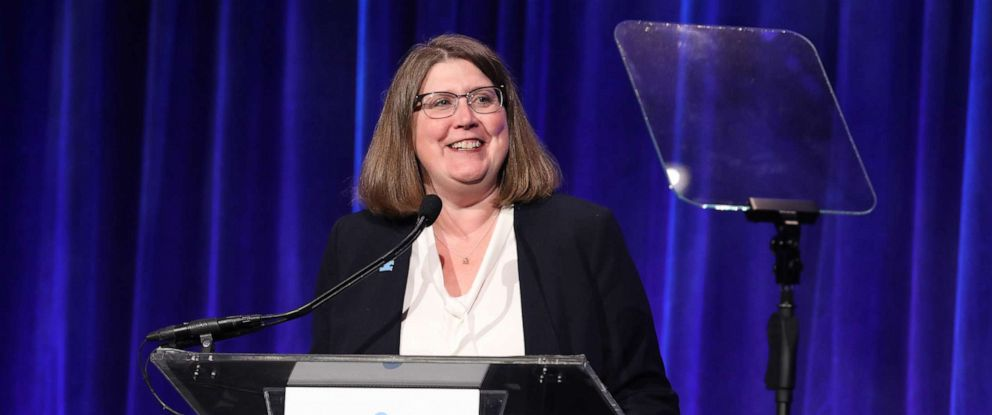 PHOTO: Angela Geiger, President & CEO, Autism Speaks, is seen onstage during the 13th Annual Autism Speaks Celebrity Chef Gala, Oct. 15, 2019, in New York.