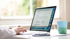 PHOTO: Man typing on laptop.