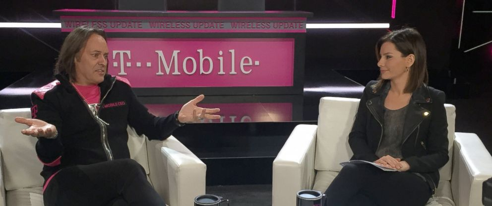 "PHOTO: T-Mobile CEO, John Legere joins Rebecca Jarvis at CES 2017 in Las Vegas for an episode of ""Real Biz with Rebecca Jarvis."""
