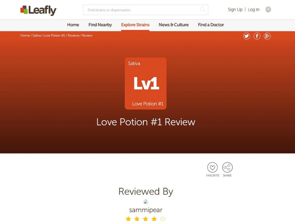PHOTO: A review of Love Potion #1 on the marijuana review website Leafly.