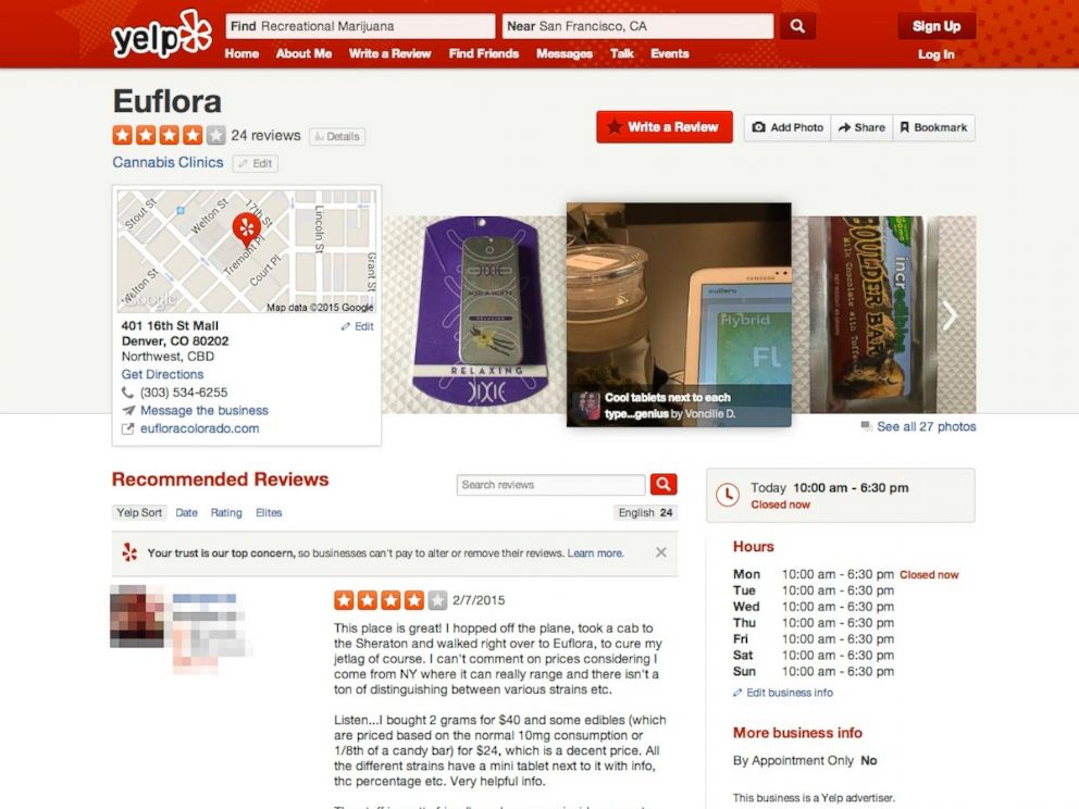 PHOTO: A review of Euflora, a cannabis clinic, on Yelp.
