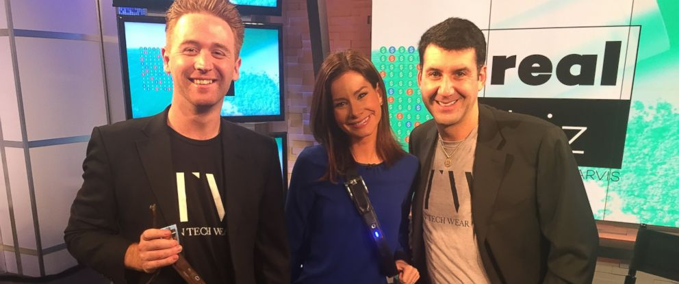 PHOTO: Inventor Piers Ridyard, Scrub Daddy CEO Aaron Krause and ABC News Rebecca Jarvis talk tech and the Ion Tech Belt.