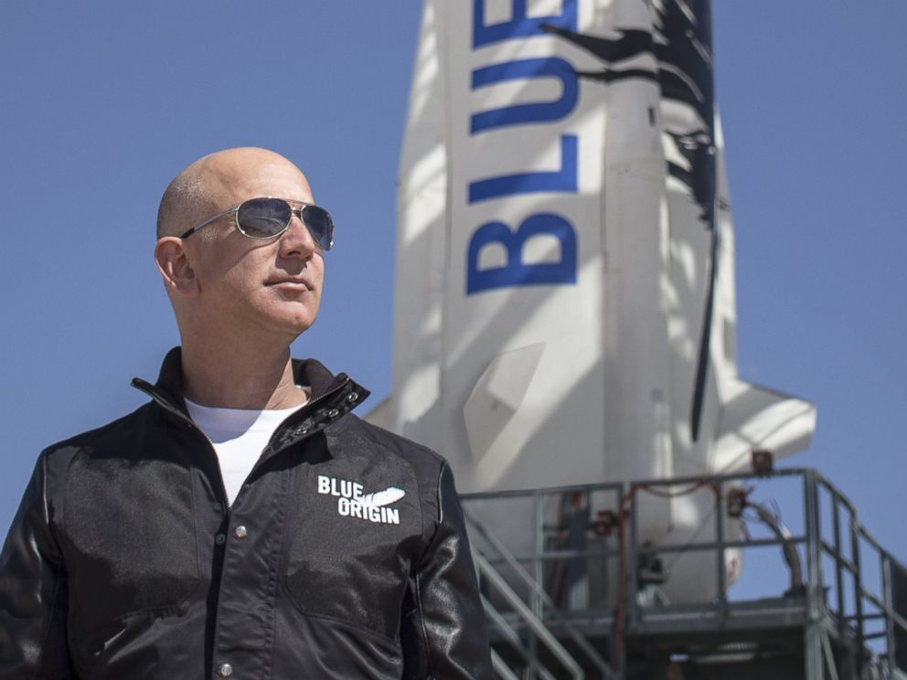 PHOTO: Jeff Bezos, founder of Blue Origin, inspects New Shepards West Texas launch facility before the rockets maiden voyage in this undated file photo.