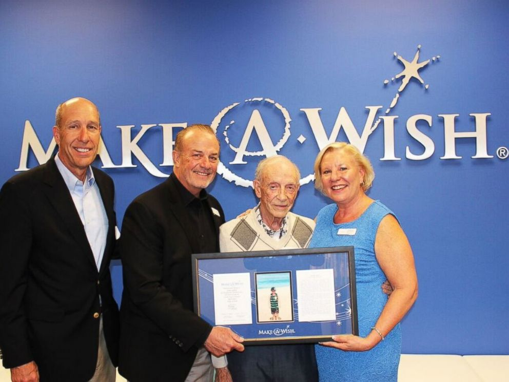 PHOTO: (L-R) David Williams and Michael Hickman of Make-A-Wish Foundation, Hartley Gaylord with an Adopt-A-Wish plaque in honor of his wife Sandy, Stephanie McCormick, President and CEO of Make-A-Wish Orange County and the Inland Empire.