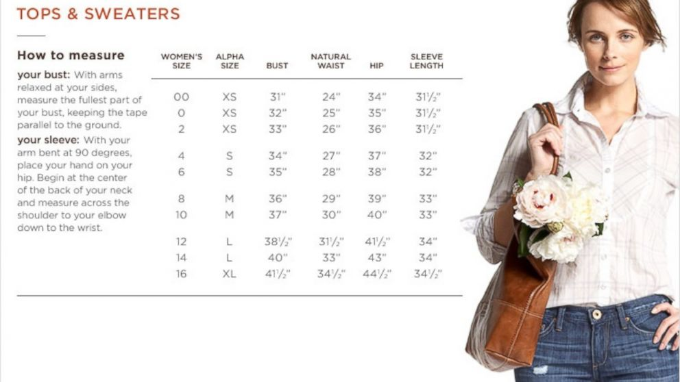 Banana Republic S Sizing Chart For Tops And Sweaters