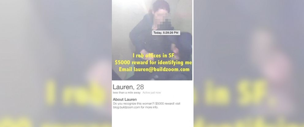PHOTO: Buildzoom created a fake Tinder profile from their office video surveillance showing an alleged burglar.