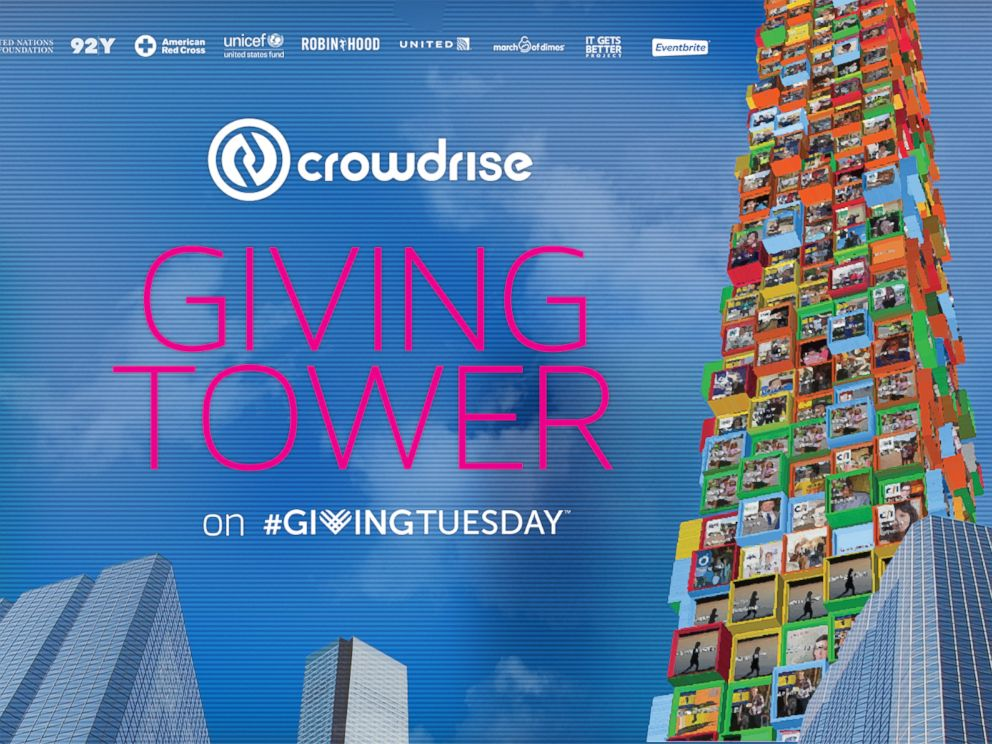 PHOTO: Promotional image for CrowdRises Giving Tower for #GivingTuesday.
