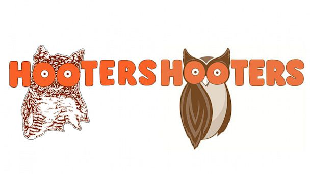 PHOTO: Hooters original logo, left, and new design, right.