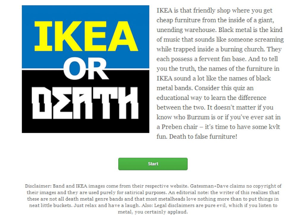 PHOTO: IkeaOrDeath.com quizzes visitors on whether a word is a furniture name of death metal band.