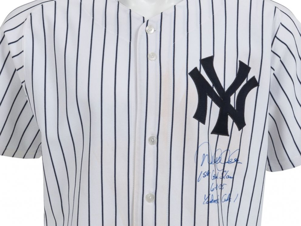 PHOTO: Jeters first and only grand slam game-worn jersey sold for $41,825 on Feb. 22, 2014