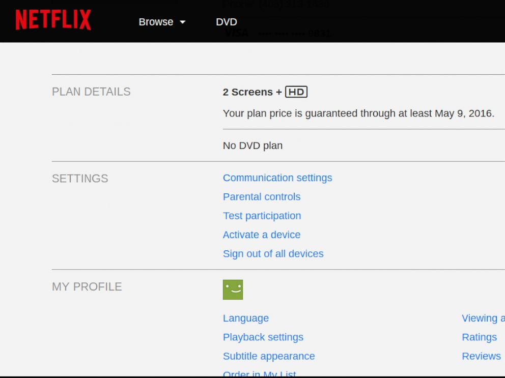 PHOTO: This screenshot from Netflix shows the current subscription price guaranteed through May, 9, 2016.