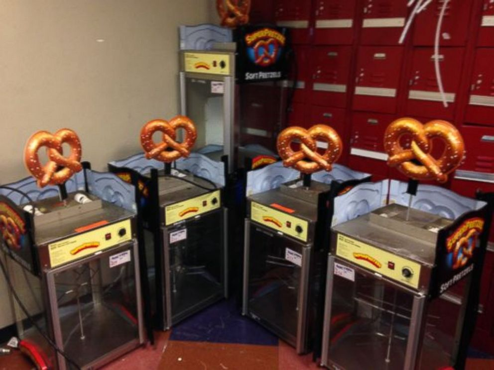 PHOTO: Super Pretzel warmers, part of a liquidation sale by the Newark Bears baseball team.