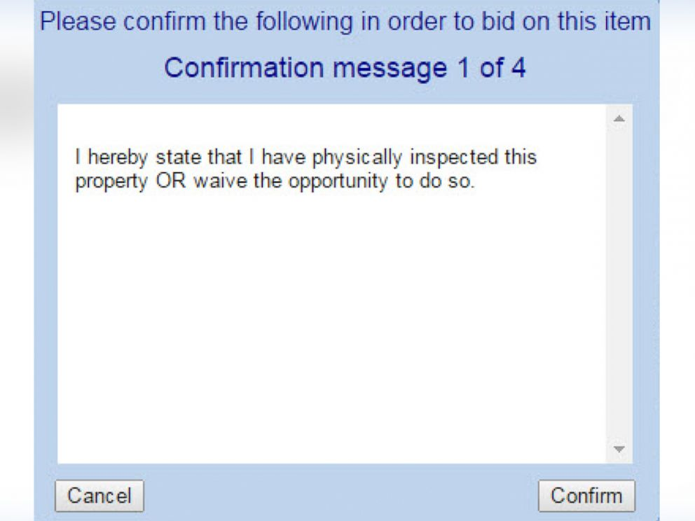 PHOTO: RealAuction.com asks bidders to confirm their purchases before buying a property.