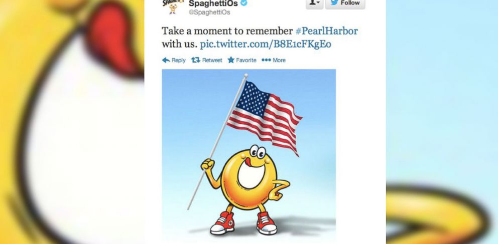 PHOTO: On the 72nd anniversary of Japans attack on the Pearl Harbor, SpaghettiOs sent out an unsavory tweet.