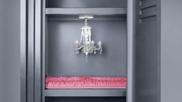 PHOTO: Target magnetic chandelier ($9.99) and shag rug ($5.99) for locker.
