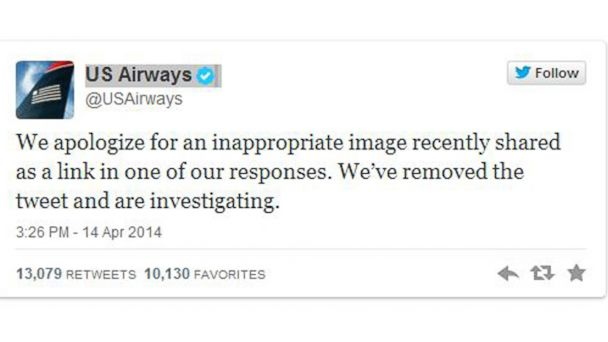 PHOTO: U.S. Airways apology on for sending an X-rated Twitter message in response to a customer complaint is seen.