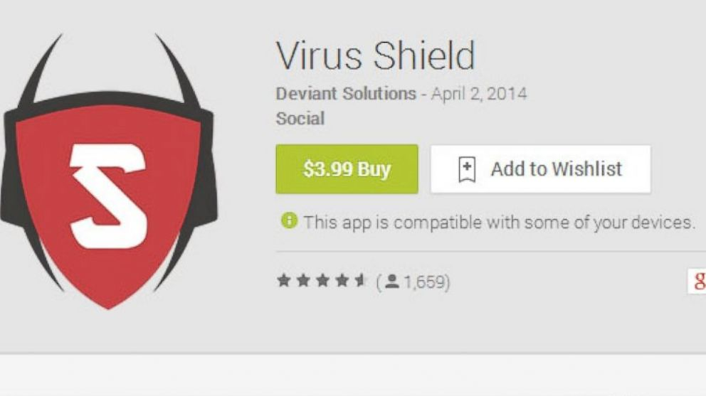 """The Google Play page for """"Virus Shield,"""" which has since been removed from the Google Play store."""