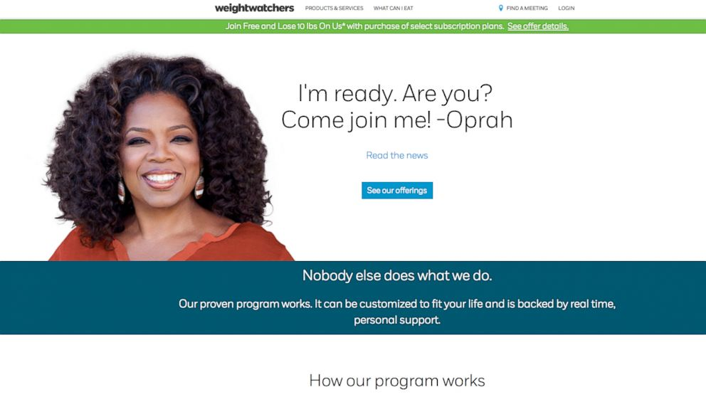 A screen grab of Weightwatchers is seen here, Oct. 19, 2015.