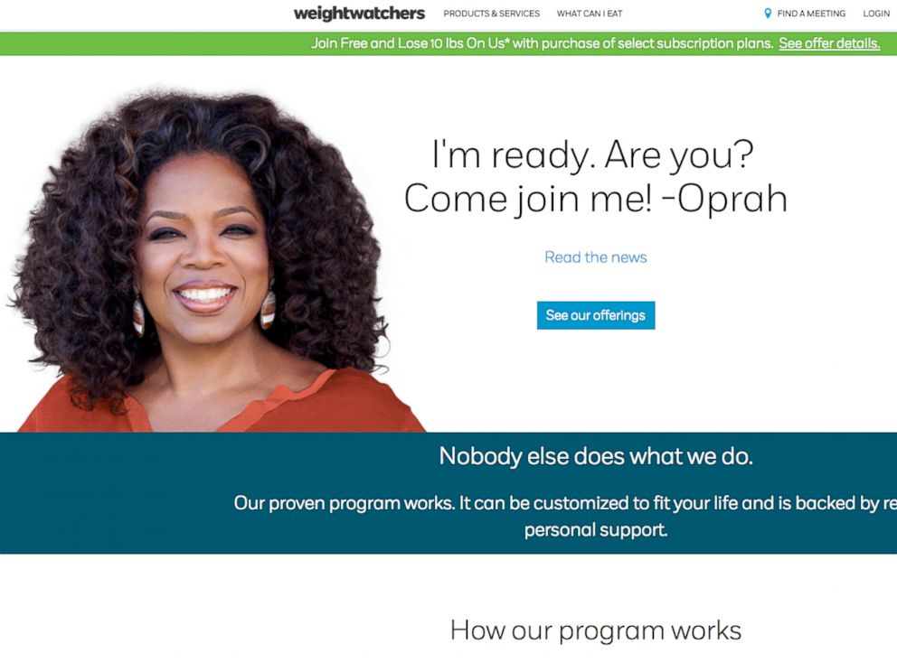 PHOTO: A screen grab of Weightwatchers is seen here, Oct. 19, 2015.