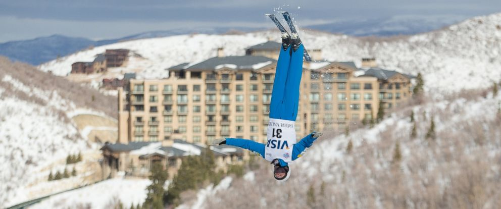 "PHOTO: ""Ski ambassador"" Mac Bohonnon flies in front of The St. Regis Deer Valley, in Park City, Utah."