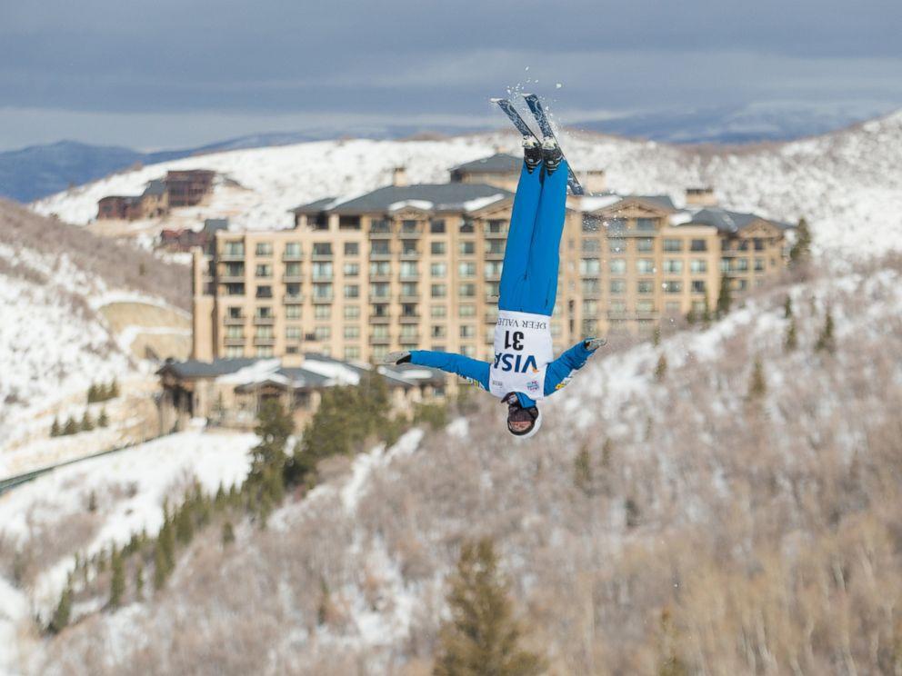 PHOTO: Ski ambassador Mac Bohonnon flies in front of The St. Regis Deer Valley, in Park City, Utah.