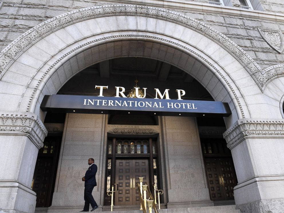 PHOTO: A staff member stands in front of the Trump International Hotel in Washington, D.C.,on Oct. 26, 2016.