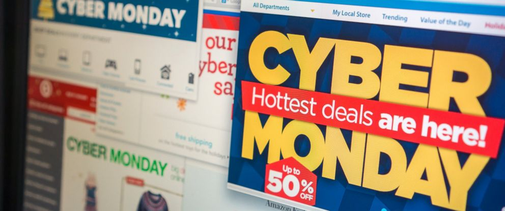 PHOTO: A collection of websites touting their Cyber Monday sales is seen in this undated file photo.