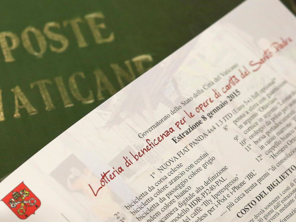 PHOTO: Details of a ticket of the Popes raffle is seen at the Vatican Post office in Vatican City