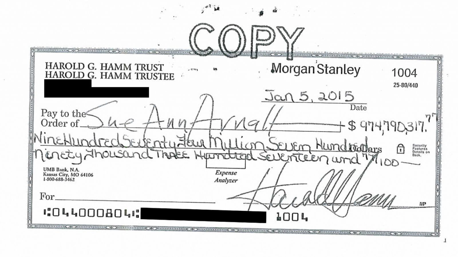 Harold Hamm's Wife Cashes $975M Check After All - ABC News