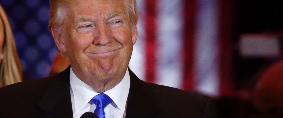 PHOTO: Republican U.S. presidential candidate Donald Trump smiles as he speaks at the start of a campaign victory party in New York, May 3, 2016.