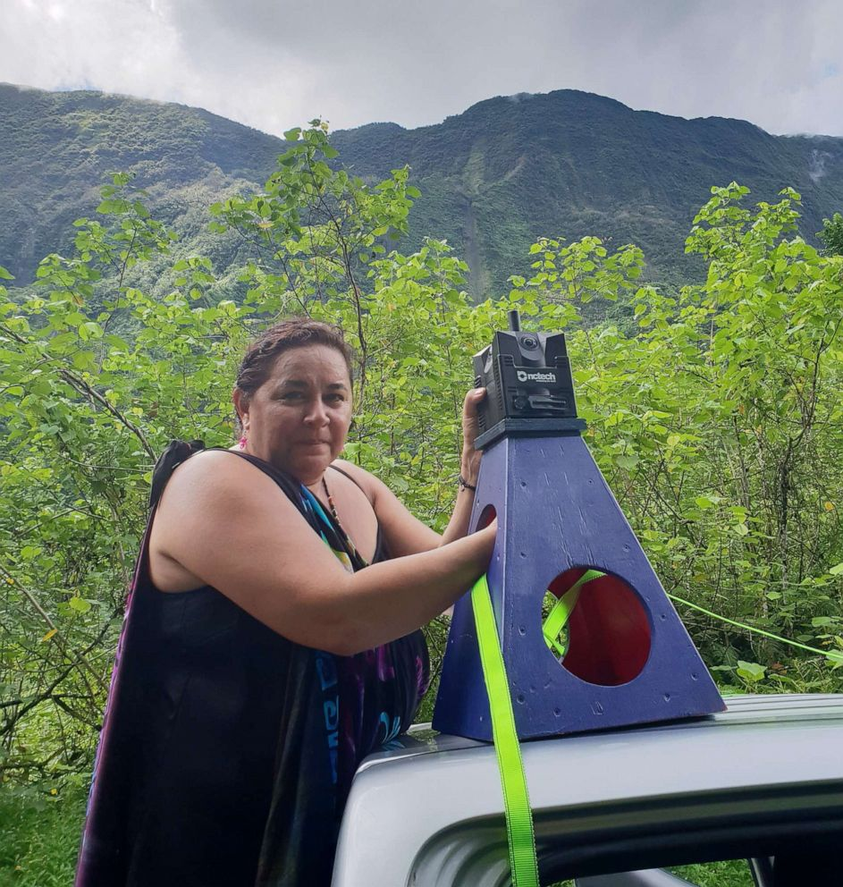 PHOTO: Tania Wolfgramm helps map Tahiti for Google Earth.