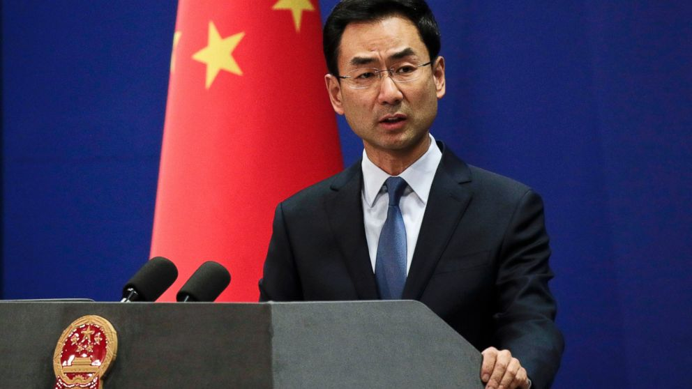 FILE - In this Tuesday, Jan. 29, 2019, file photo, Chinese Foreign Ministry spokesman Geng Shuang speaks during a daily briefing at the Ministry of Foreign Affairs office in Beijing. The U.S. has brought charges against Chinese tech giant Huawei Technologies and one of its top executives in a case that has shaken China's relations with the U.S. and Canada. (AP Photo/Andy Wong)