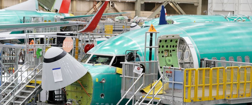 FILE - In this March 27, 2019, file photo, a Boeing 737 MAX 8 airplane is shown on the assembly line during a brief media tour of Boeings 737 assembly facility in Renton, Wash. With the 737 Max jet still grounded after two deadly crashes, deliveries