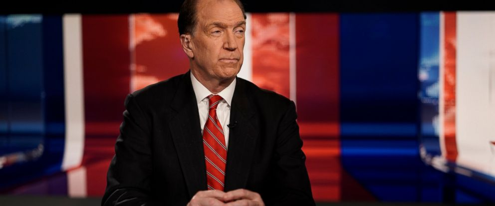 """FILE- In this Feb. 6, 2019, file photo David Malpass, undersecretary for international affairs at the Treasury Department, listens to Trish Regan during """"Trish Regan Primetime"""" on Fox Business in Washington. The Treasury official nominated by Preside"""