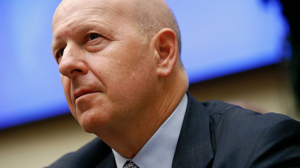 "FILE - In this April 10, 2019, file photo, Goldman Sachs chairman and CEO David Solomon testifies before the House Financial Services Commitee during a hearing in Washington. Goldman Sachs said its first quarter earnings fell by 21% from a year earlier, hurt by a slowdown in trading. Solomon described the quarter as a ""muted start to the year,"" in a written statement. (AP Photo/Patrick Semansky, File)"