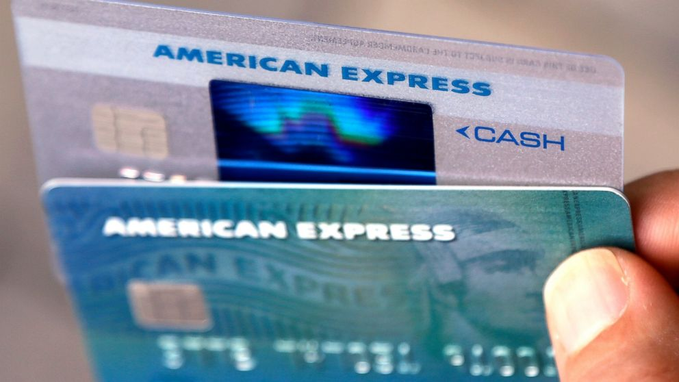 FILE - In this Monday, July 18, 2016, file photo, American Express credit cards are photographed in North Andover, Mass. American Express Co. reports financial results Thursday, Jan. 17, 2019. (AP Photo/Elise Amendola, File)