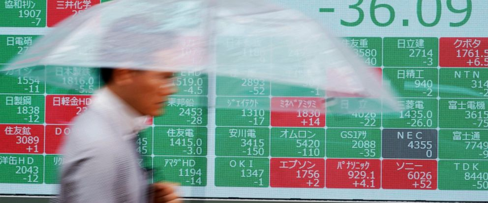 A man walks past an electronic stock board showing Japans Nikkei 225 index at a securities firm in Tokyo Friday, July 12, 2019. Shares in Asia are mostly higher after a turbulent day on Wall Street ended with the Dow Jones Industrial Average closing