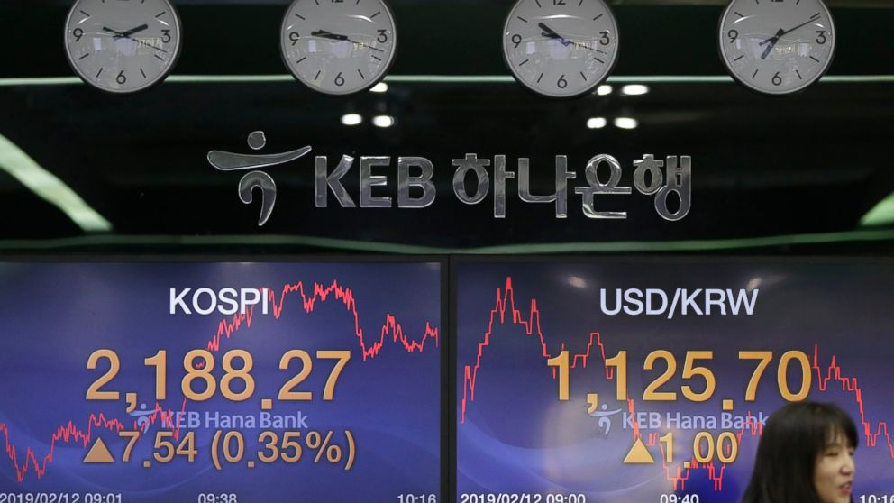 A currency trader talks near the screens showing the Korea Composite Stock Price Index (KOSPI), left, and the foreign exchange rate between U.S. dollar and South Korean won at the foreign exchange dealing room in Seoul, South Korea, Tuesday, Feb. 12, 2019. Asian stocks rose Tuesday following a listless day on Wall Street as investors looked ahead to U.S.-Chinese trade talks. (AP Photo/Lee Jin-man)