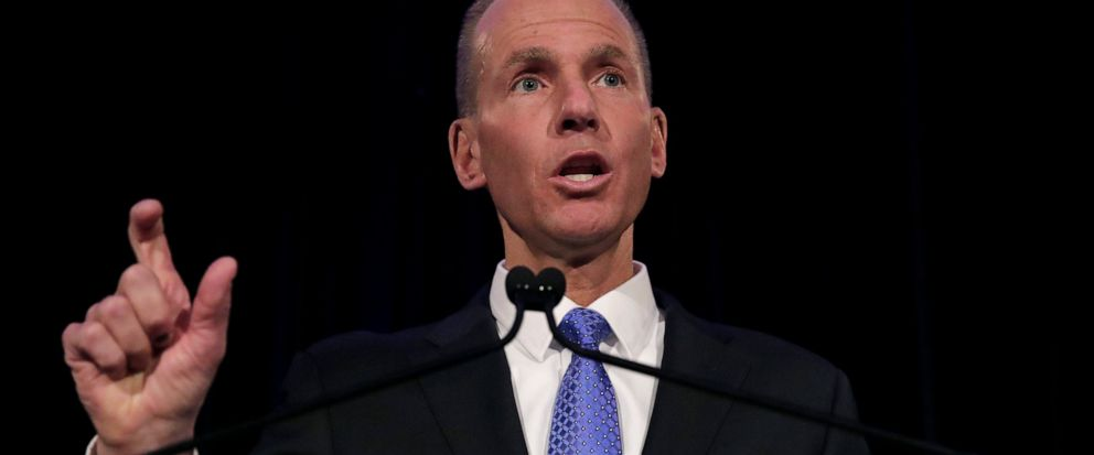 FILE - In this Monday, April 29, 2019 file photo, Boeing Chief Executive Dennis Muilenburg speaks during a news conference after the companys annual shareholders meeting at the Field Museum in Chicago. Boeing has taken the chairman title away from C