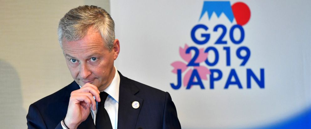 Frances Finance Minister Bruno Le Maire listens to a question during a press conference at the G20 finance ministers and central bank governors meeting in Fukuoka Sunday, June 9, 2019. (Toshifumi Kitamura/Pool Photo via AP)