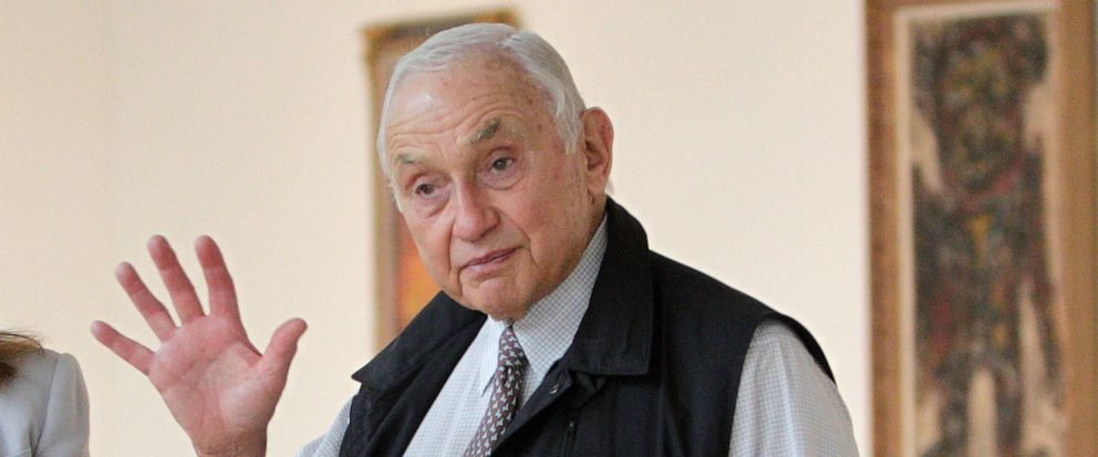 "FILE - This Sept. 19, 2014 file photo shows Chairman and CEO of Victoria's Secret parent L Brands Les Wexner touring the exhibit at the Wexner Center for the Arts in Columbus, Ohio. Wexner says he is ""embarrassed"" by his former ties with the disgrace"